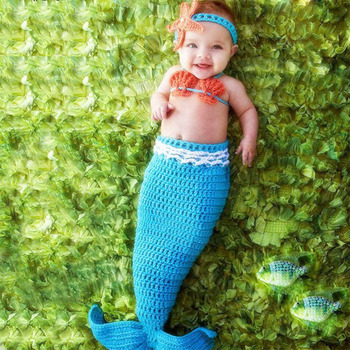 New born photography baby mermaid tail newborn photo props crochet infant clothes outfit toddler picture shoot fotografia suits
