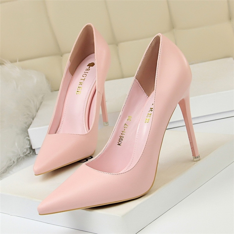 Female Shoes Heeled Pumps-Point Office Pink Elegant Blue-Size Sweet 34