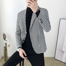 Autumn and winter male British retro Slim Korean version of the small plaid suit casual jacket
