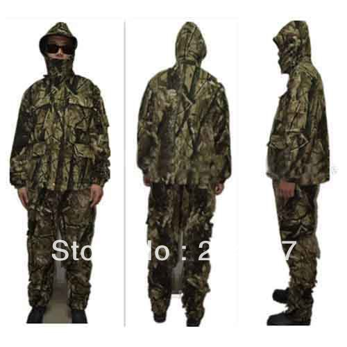 Double fleece Camo suits Fabric Jungle Camouflage Hunting Clothing Sets for Hunter Clothes