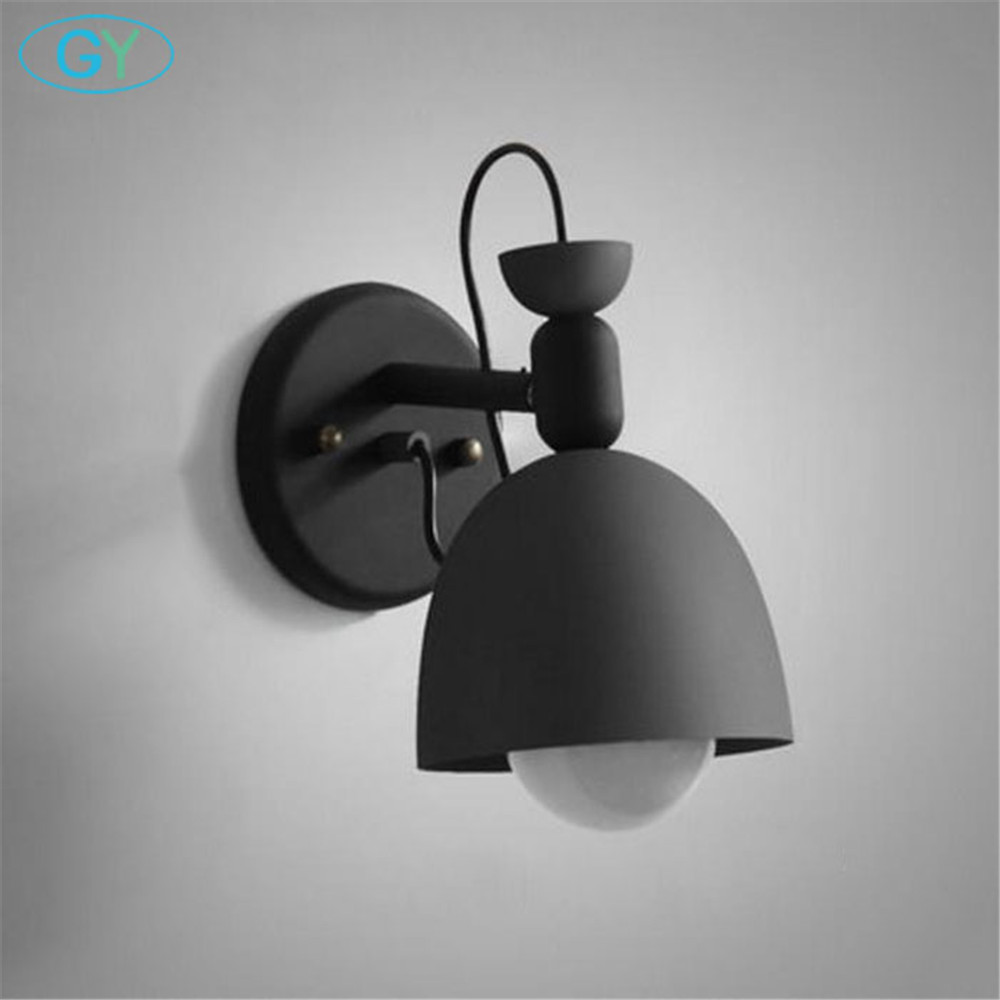 Modern Designer Lamp Nordic Candy wall lights study aisle porch bedroom bedside wall sconces black white green cyan lampshade free shipping 220v high quality modern acrylic lights creative wall lamp fit to install the new listing study bedroom aisle page 7