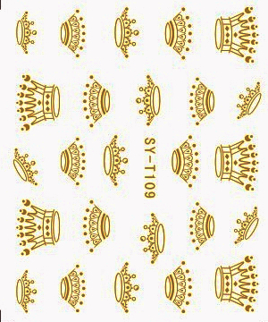 6 PACKS / LOT Gold/ Silver  Water Stickers Metallic Nail Decals CROWN CHINESE DRAGON TOTEM SYT109-114 the silver crown