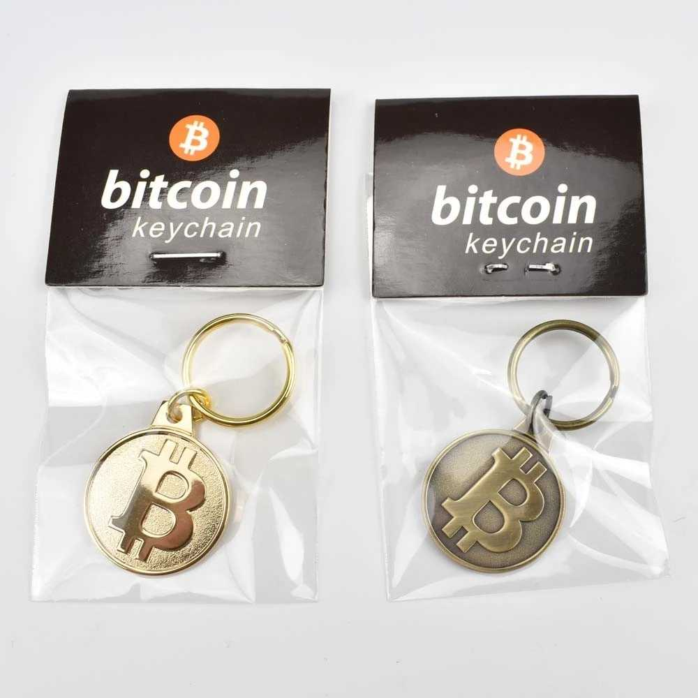 Cores Antique bronze e Banhado A Ouro 25 2mm Bitcoin Moeda Chaveiro moeda Bit Cryptocurrency Presente
