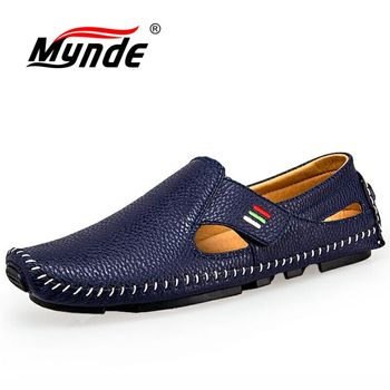 MYNDE New Fashion Moccasins For Men Loafers Summer Walking Breathable Casual Shoes Men Hook&loop Driving Boats Men Shoes Flats 1