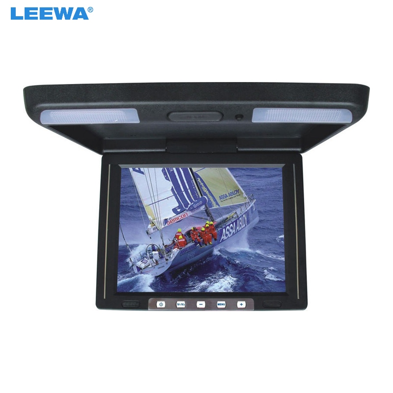 LEEWA 11.3 inch Roof Mounted TFT LCD Monitor 2-Way Video Input Flip Down Car/Bus/Truck Monitor Black, Grey, Beige #A1285 9 inch flip down tft lcd monitor 12v car monitor beige car roof mounted monitor car ceiling monitor with 2 video input
