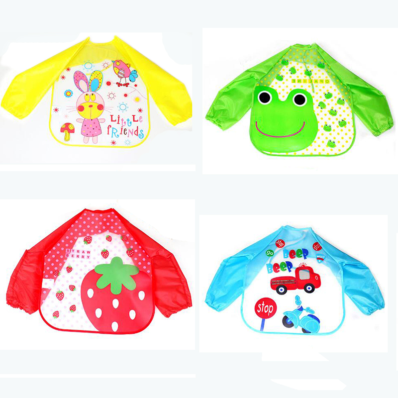 Meetcute High Quality EVA Waterproof Plastic Long Baby Sets Sleeve Feeding Infant Bids Baby Bavoir Clothing 4 Cute Pattern baby infant high chair seat cover mat waterproof feeding eating place mat