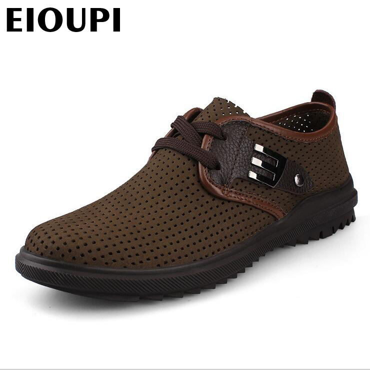 EIOUPI top quality new design genuine real cow leather mens fashion business casual shoe breathable men shoes lh2928 top quality genuine real grain leather boots qshoes mens brand design business dress casual men personalized boot ym08 01