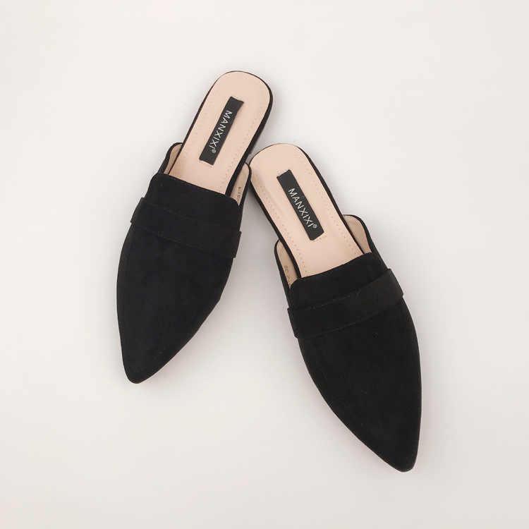 Летние туфли на плоской подошве; женские босоножки; шлепанцы; женские сабо с острым носком без застежки; женские сланцы для улицы