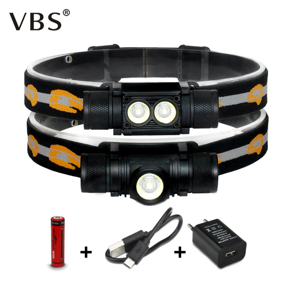 Led Headlamp Rechargeable Head Lamp 18650 7W 10W 1000Lm 2000lm Head Lamps For Hunting Torch Head T6 Flashlight On Forehead
