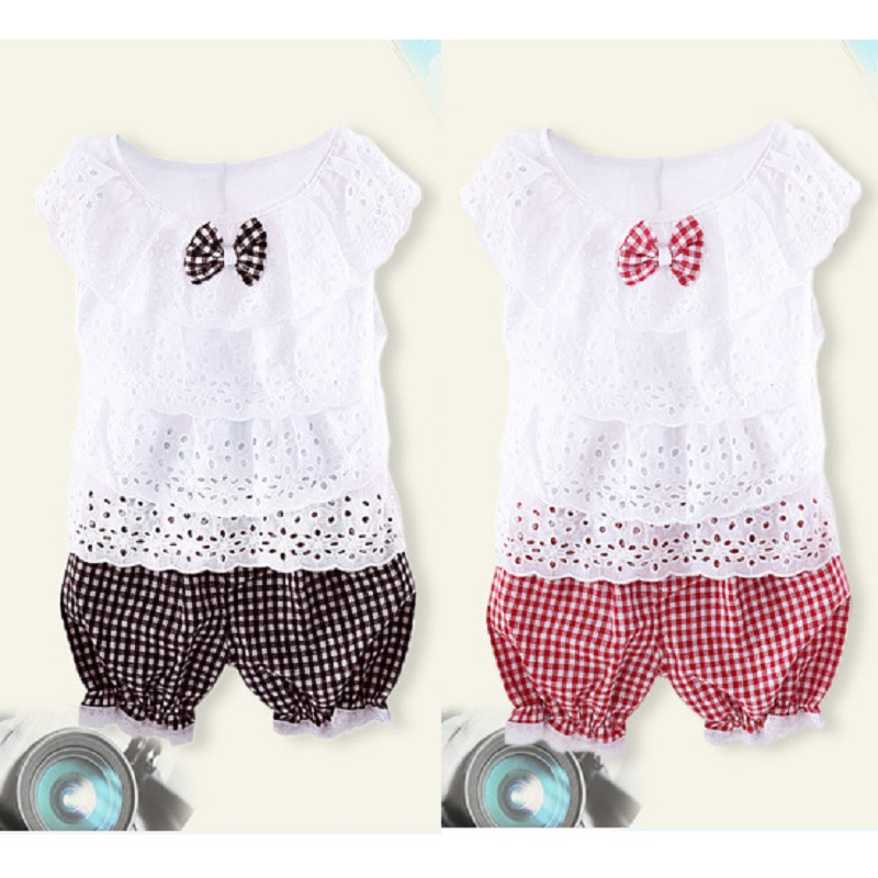 Hooyi Summer Girls Clothes Sets Layers T-Shirts Grid Pants Baby Girl Clothing Suit Hollow Tops Jumper Children Outfit