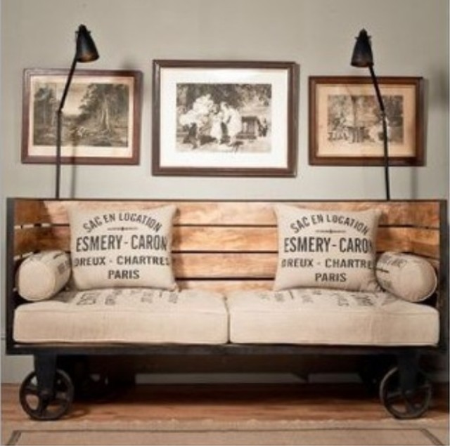 American Country Style Retro Industrial Wood Sofa Living Room Coffee Table, Wrought  Iron Chairs Combination Part 65