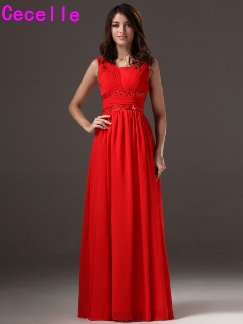 2017 Hot Long Floor Length Red Bridesmaids Dresses With Sleeves For Wedding A Line