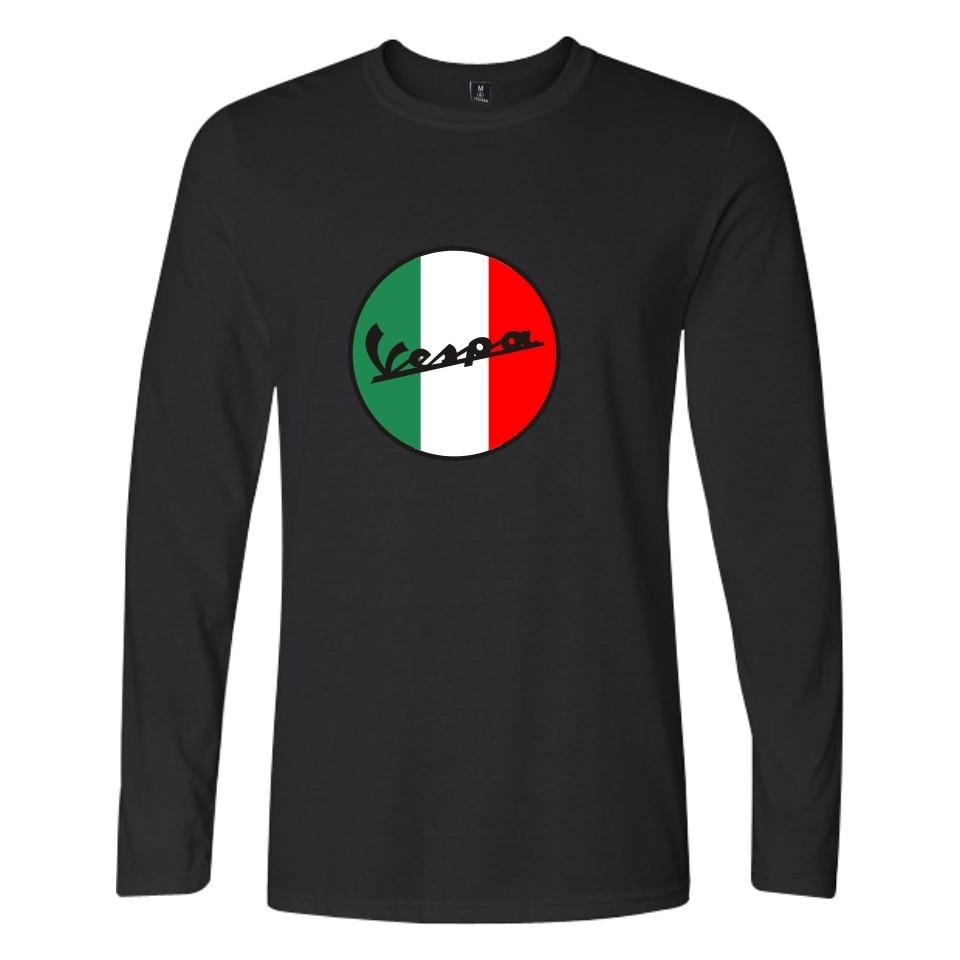 Vespa T-Shirts Casual Long Sleeve O-neck Cotton Male Tee Shirt Fashion Printed Solid Color Loose Basic T shirts Vespa
