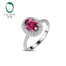CaiMao 1.21ct Natural Pink Tourmaline & 0.33ct Diamond 14k  Gold gemstone engagement ring Fine Jewelry
