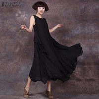 ZANZEA Summer Dress 2016 Sexy Women Sleeveless O Neck Cotton Linen Long Maxi Dresses Casual Loose
