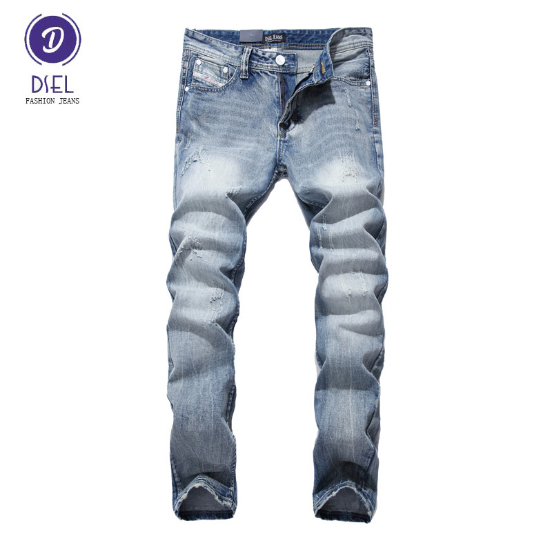 Fashion Mens Jeans Italian Style Light Blue Denim Slim Fit Stripe Ripped Jeans Men Pants DSEL Brand Streetwear Youth Biker Jeans patch jeans men slim skinny denim blue jeans ripped trousers famous brand dsel jeans elastic pants star mens stretch jeans w701
