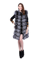 Women Fox Fur X-Long Gilets Real Silver Fox Fur Vests Natural Fur Winter Waistcoat Warm Fashion Sleeveless AU00788