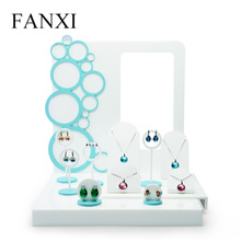FANXI Express new product Luxury Acrylic Display Set for Counter Shocase Ring Earrings Necklace Holder Display Stand with Poster