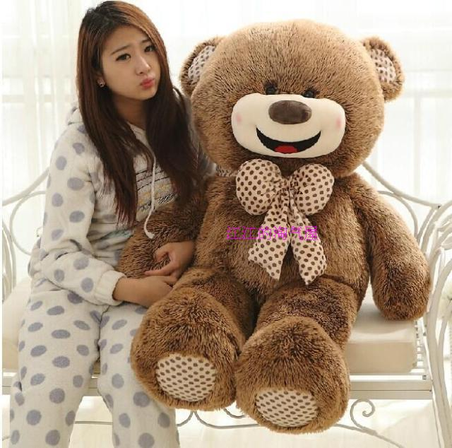 happy smile teddy bear, bowtie bear large 120cm plush toy soft hugging pillow birthday gift h981