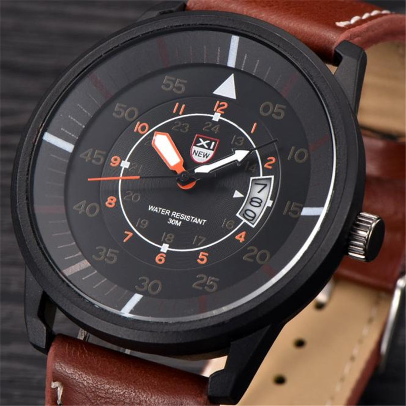 2017 Men's Leather Stainless Steel Sport Analog Quartz Date Wrist Watch Waterproof men watches luxury brand Relogio Masculino 2017 fashion stainless steel leather men s military sport analog quartz wrist watch men square casual watches relogio masculino