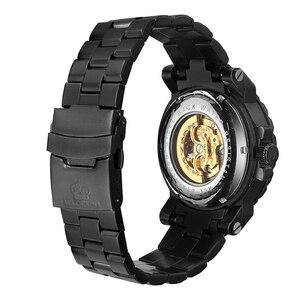 Image 4 - MG. ORKINA Men Wristwatch Golden Skeleton Clock Mechanical Male Wrist Watch Black Relogio Masculino Automatic Zegarek Meski