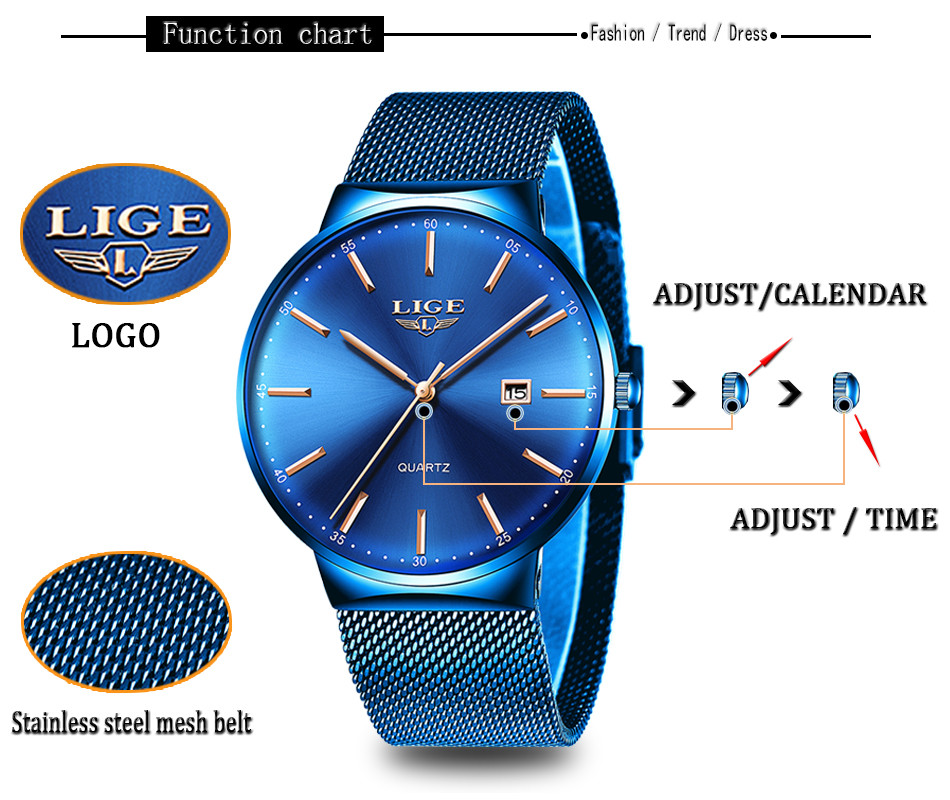 HTB1DtvnaPzuK1Rjy0Fpq6yEpFXaR Relogio Masculino New Mens Watches LIGE Top Brand Luxury Fashion Watch Slim Mesh Date Waterproof Quartz Watch For Men Blue Clock