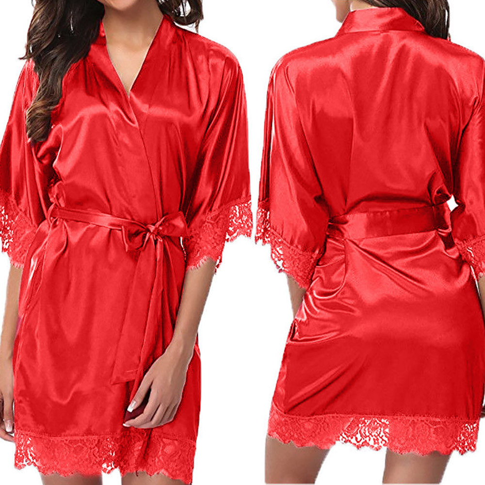 Women\'S Lady Sexy Lace Sleepwear Satin Nightwear Lingerie Pajamas Suit V Collar Robe Dress Satin Silk Babydoll Lace Dress High