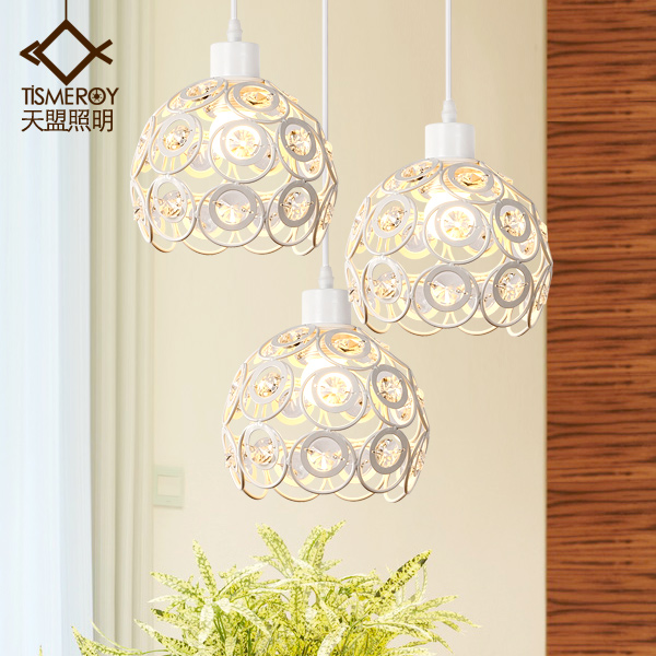 Art modern minimalist single head led aisle bar restaurant lamp personality three crystal dining Pendant ring led minimalist european round pendant lamp three creative head table lamp crystal restaurant dining pendant light ta10173