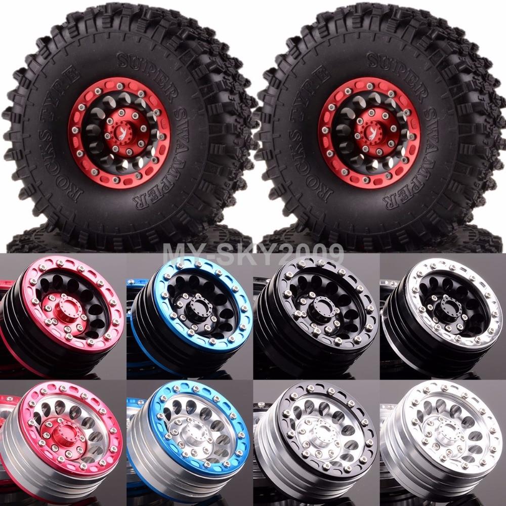 4pcs Rock Crawler 1.9 Aluminum Beadlock Wheel Rims & 120mm Super Swamper Tyre 1060-7037 For 1:10 RC Model CC01 D90 SCX10 HSP austar 4pcs wheel tires rims inflate beadlock pneumatic tyre 3021rd for 1 10 rc car