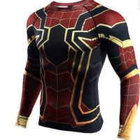 Raglan Sleeve Spiderman 3D Printed T shirts Men Compression Shirts Long Sleeve Crossfit Tops Tees Gyms Fitness T shirt 199