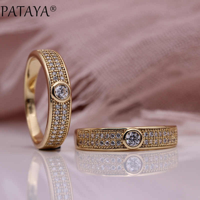 PATAYA New Micro-wax Inlay Luxury Women Rings 585 Rose Gold Wedding Gift Fine Fashion Jewelry White Round Natural Zircon Ring