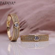PATAYA nuevo Micro-cera de incrustación de las mujeres de lujo 585 anillos de oro rosa regalo de boda fina joyería de moda blanco Natural anillo de circón