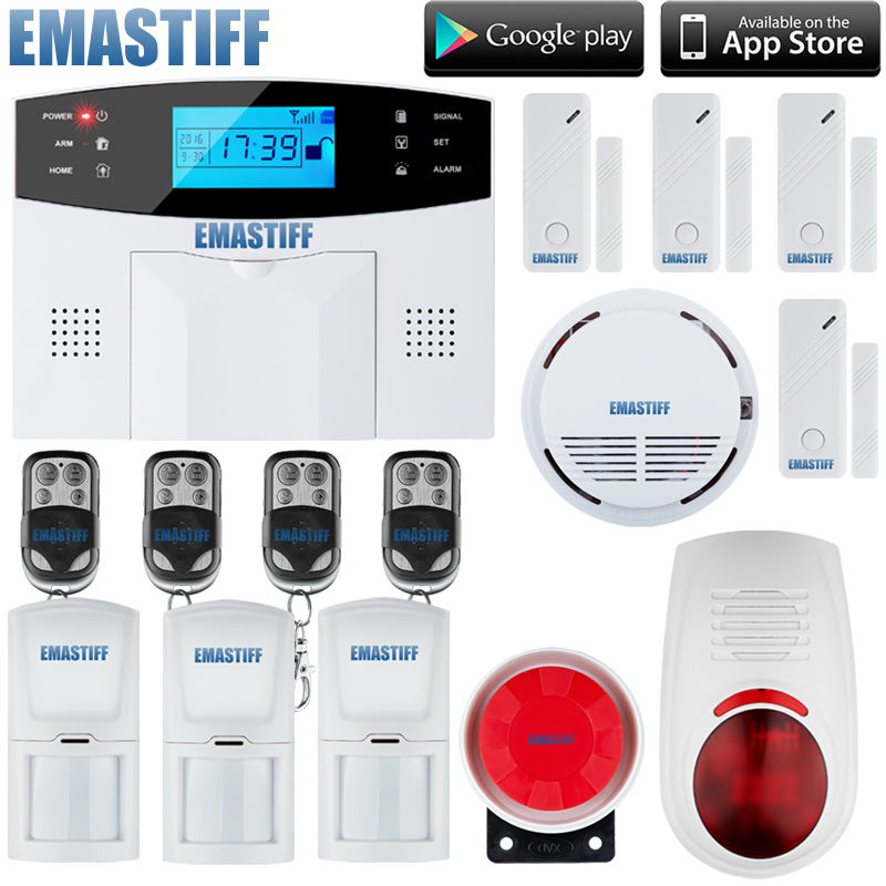 Free shipping Wireless SMS Home GSM Alarm system House intelligent Burglar Security Alarm System+w 1 smoke sensor+1 flash siren wireless sms home gsm alarm system 7 lcd keyboard ru sp eg fr it voice house intelligent auto burglar door security alarm system