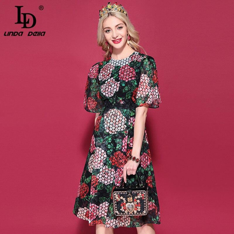 Kadın Giyim'ten Elbiseler'de LD LINDA DELLA 2019 Moda Pist yaz elbisesi kadın Kısa Kollu Güzel Çiçek Baskı Vintage Zarif Elbise vestidos'da  Grup 1