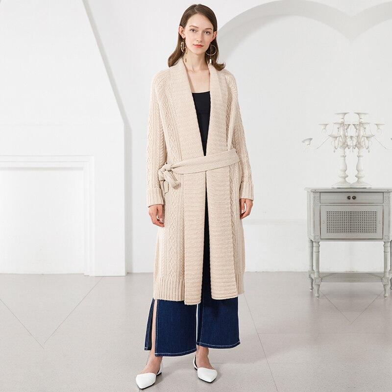 Kadın Giyim'ten Hırkalar'de Hırka Kadınlar Uzun % 100% Kaşmir Kazak Palto Ile Kemer Kaburga Örgü Kalınlaşmak Kış sıcak Uzun Ceketler Bayanlar Örgü Dış Giyim'da  Grup 1