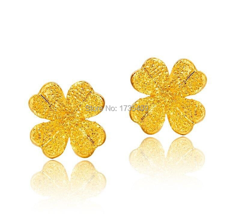 999 Solid 24K Yellow Gold Earring / Frosted Flower Design Stud ...