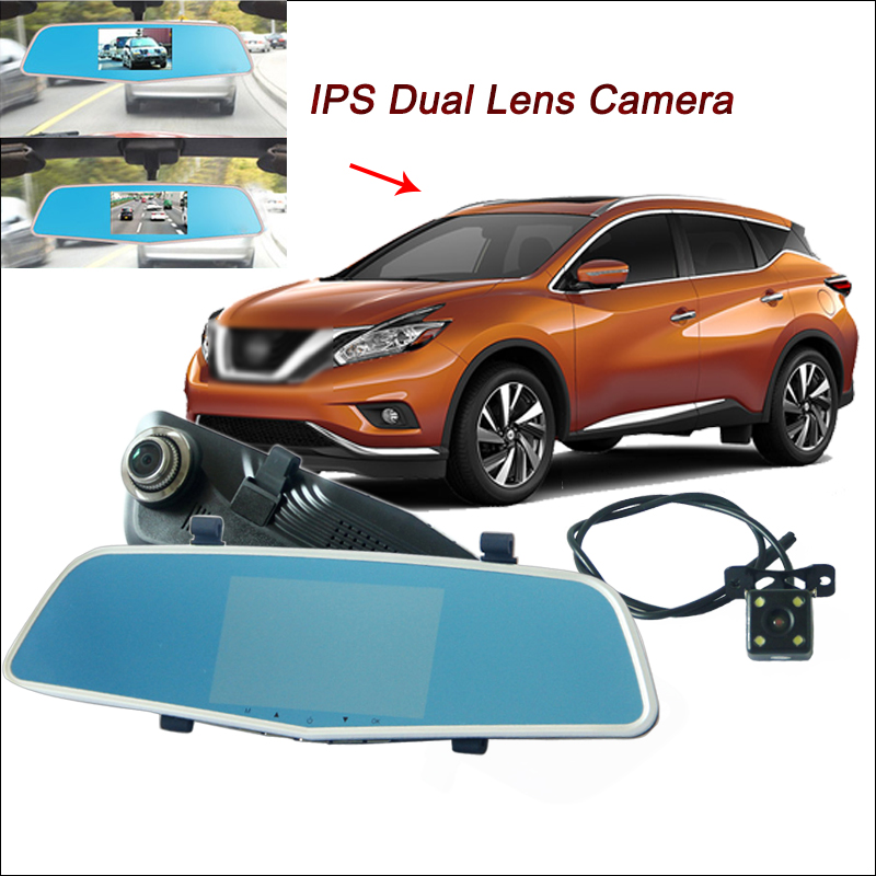 BigBigRoad For nissan murano Car DVR Rearview Mirror Video Recorder Dash cam Dual Lens 5 inch IPS Screen Black Box G-sensor