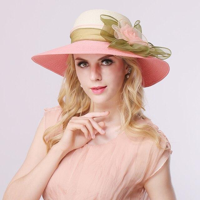 2016 Nueva Moda de Verano Sombreros de Paja para Las Mujeres Floppy Playa Flor Del Sol Sombrero Sombreros Tapa Exterior Sombrero Panamá B-3146