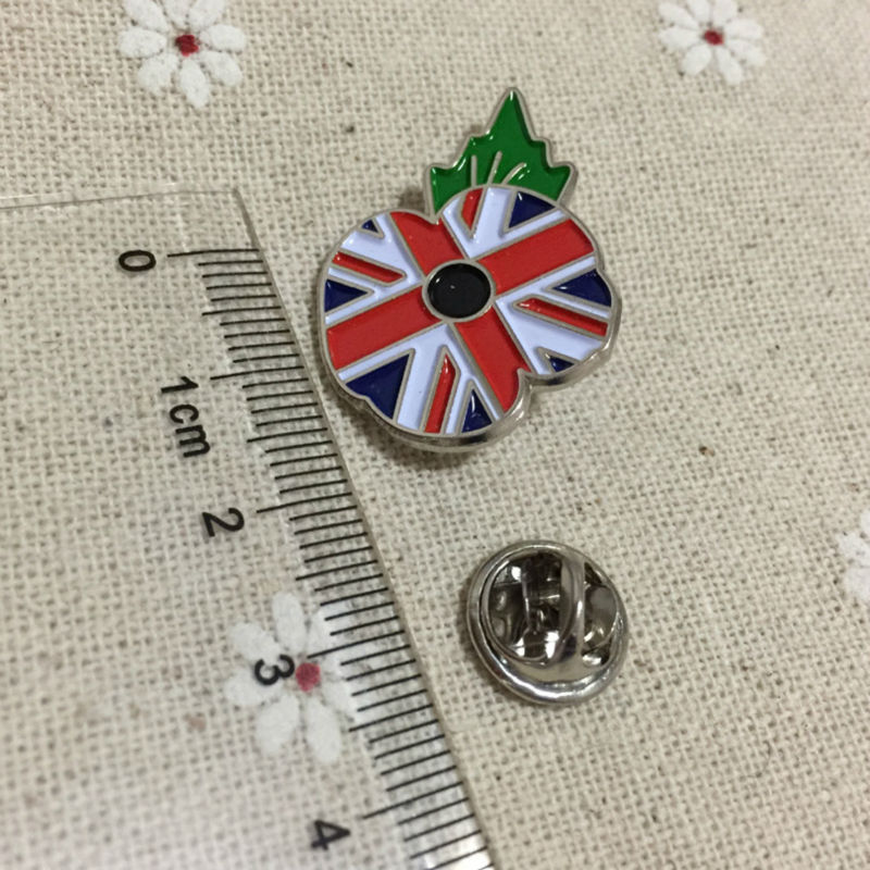 100pcs Custom UK Flag Brooch Masonic Crested Poppy Enamel Lapel Pin Badge Freemason Masons Metal Craft