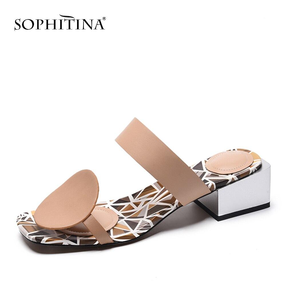 SOPHITINA nueva moda de cuero genuino de mujer Zapatillas de verano fuera de zapatos de tacón cuadrado especial de punta cuadrada zapatillas de tacón Med mo1804-in Zapatillas from zapatos    1