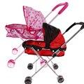 Lindo Cochecito de Muñecas de Juguete de Hierro De Color Rosa Niñas Muñeca de Juguete Carro de Juguete Cochecito Cochecito Cochecito de bebé Plegable Cochecito De Muñecas Accesorios