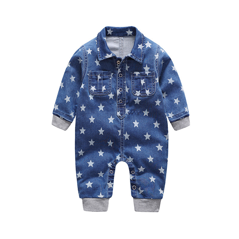Baby Romper Kids Denim Jumpsuits long Sleeve Roupas Bebes Jeans Overalls Unisex five-pointed star Pants onesie 2018 Baby Clothes summer men s casual loose denim jumpsuits overalls bib pants light blue cargo pants plus size gardener capris size xs 5xl