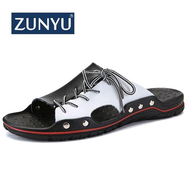 ZUNYU Novo Genuínos Homens de Couro Chinelos de Praia Homens Sapatos Confortáveis Salto Plana 2019 Verão Masculino Desliza Luxo Plus Size 38 -48