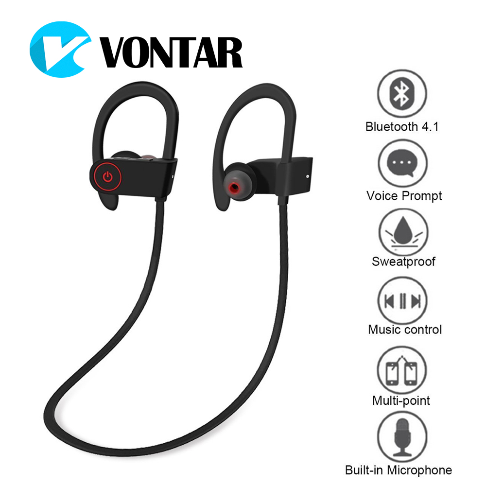 Vontar U8 Sweatproof Bluetooth Headphones Wireless Sports Earphones with Mic HD Stereo Earbuds for Gym Running Iphone Xiaomi new fashion sweatproof wireless bluetooth v4 0 sports stereo headphones with mic ear hook earbuds earphones for iphone for sony