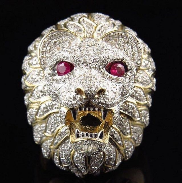 Gold Color Full Crystal Lion  s Head Men Hip Hop Rings Fashion Punk Animal  Shape Ring Male Hiphop Male Jewelry Gifts b7a3c2d68d9f