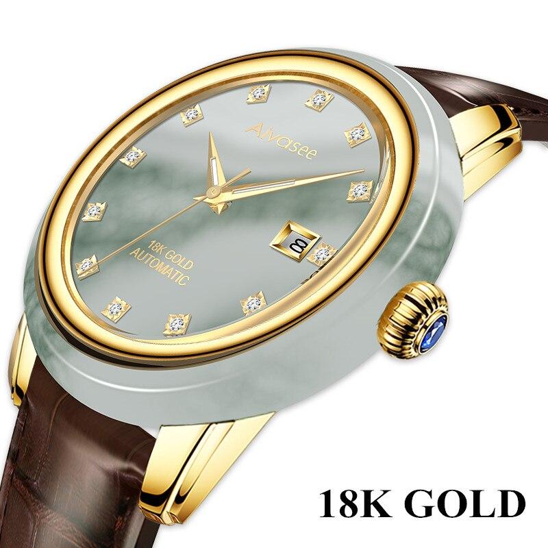 18 K Золотые нефритовые автоматические механические часы мужские Алмазный сапфир инкрустация из натуральной крокодиловой кожи швейцарские ...