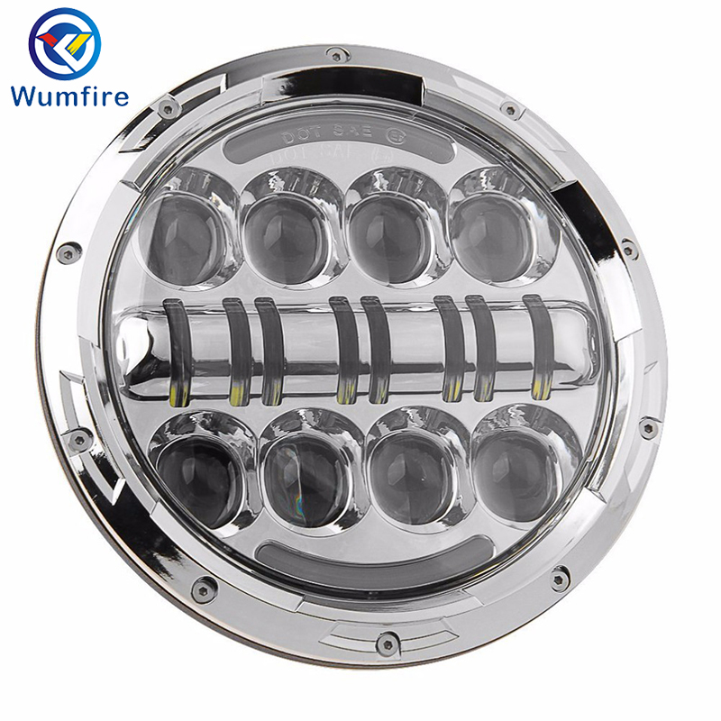 7 inch For Harley Daymaker LED Headlight Round Black Motorcycle LED Headlight With Angle Eyes For Harley Davidson