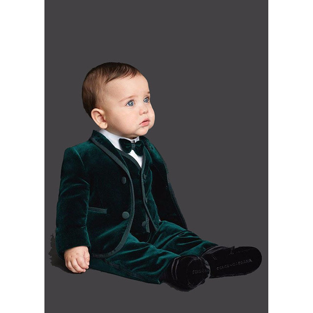 2018 Emerald Green Velvet Custom Made Fashion Kids Prom Tuxedos Suit Boys Wedding Tuxedo