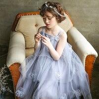 Custom Grey White Color Stereoscopic Lace Flower Sleeveless Princess Girl Summer Asymmetrical Mesh Party Birthday Wedding