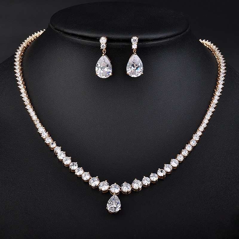 YAN MEI New Fashion Mona Lisa Marquise & Oval Stone Cubic Zirconia Necklace and Earrings Wedding Jewelry Set GLN0258YAN MEI New Fashion Mona Lisa Marquise & Oval Stone Cubic Zirconia Necklace and Earrings Wedding Jewelry Set GLN0258